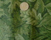 Sale Cranston Tonal Mossy Green Leaves 100% Cotton Fabric 1 yard x 45""
