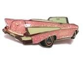 Vintage Pink Glitter Cadillac Enamel Brooch Pin 1959 Cadillac Eldorado Biarritz