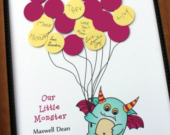 Baby Shower or Birthday Party Guest Book Alternative - Larry the MONSTER