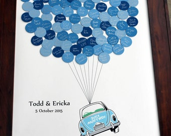 Wedding Guest Book Just Married Car Balloons for up to 150 Guests