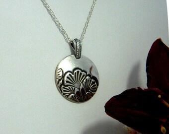 Ginko Leaf Pendant Necklace Sterling Silver