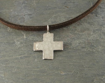 Mens Cross Necklace |  Hammered Cross | Suede Necklace | Devotion | Sterling SIlver Cross | Inspirational jewelry |Christian jewelry | Faith