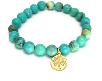Tree of life Chrysoprase Gemstones Bracelet - Nurture Success, Family Tree, Chakra bracelet, Gold Charm, Stack Bracelet, Gemstone Bracelet