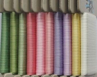 Floral Garden Plains Collection No: 3 Pastels - 4mm silk ribbon