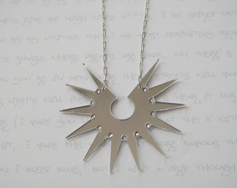 Long Liberty Necklace in Silver Mirror