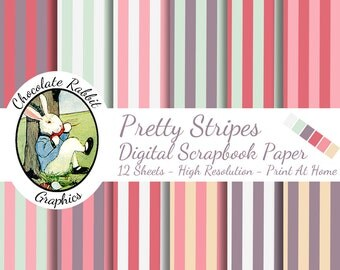 Digital Download Scrapbook Paper Pretty Stripes 12 Printable Scrapbooking Clip Art Pink Green Purple