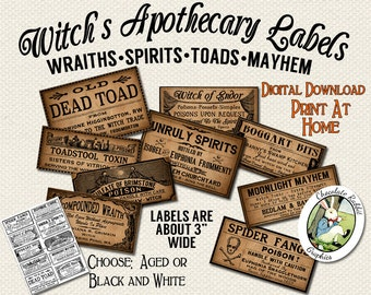 Apothecary Labels Halloween Witch Magic Printable Digital Download Clip Art DIY Clipart Scrapbook Vintage Style Image Collage Sheet