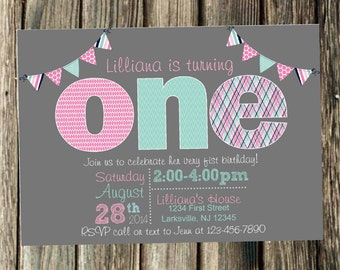 Pink, Aqua and Gray First Birthday Invitation- Print Your Own