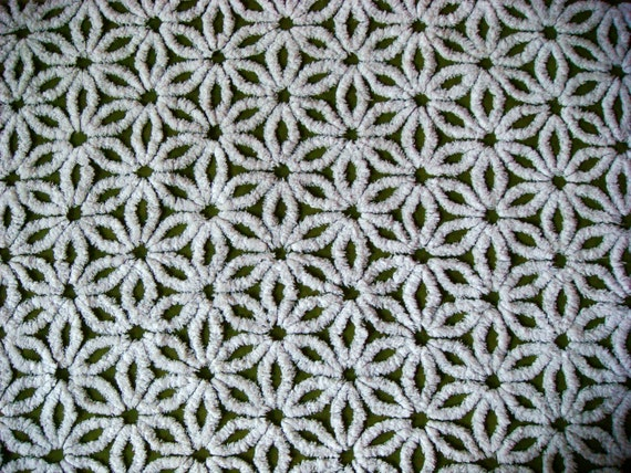 Mossy Olive Green Vintage Cotton Chenille Fabric 24x18