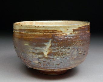 Handmade Matcha Chawan Teabowl Tea Ceremony Glazed with Carbon Trap Shino over Iron Slip and Twice fired.