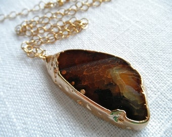 Brown sliced agate necklace - agate necklace - gold necklace - D R U Z Y 256