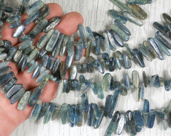 10 Beads Kyanite Aqua Blue Polished Top Drilled Loose Points (5231 -10)