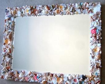 Beach Decor Custom Seashell Mirror - Nautical Decor Shell Mirror in Natural or All White, Lg Rectangular - #CM3426C
