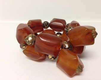 50% off Sale was 85.00 Vintage Butterscotch Bakelite Beaded Memory Wire Bracelet