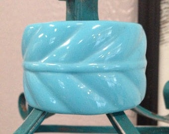 Vintage Wide Chunky Carved Lucite Turquoise Bangle