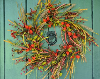 Fall Flutter  - Fall Foliage and Berry Wreath, Fall Wreath, Fall Leaves, Autumn Wreath, Harvest Wreath, Fall Decor
