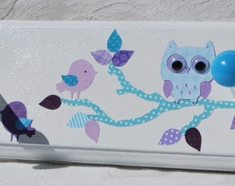 Brooklyn coat rack in Lavender Purple and Aqua with Owls and Birds . Anna