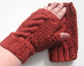 Redwood Heather Cable and Seed Stitch Fingerless Mitts,  Knit Accessories, Knit Texting Gloves, Redwood Texting Gloves