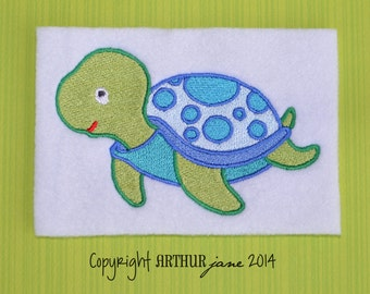 Turtle Embroidery Design, INSTANT DOWNLOAD, Sea Creatures for Machine Embroidery 4x4