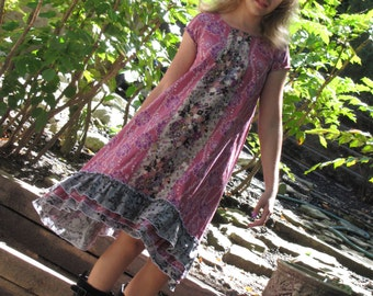 Sample Sale Tween Girls Asymmetrical Hi Lo Dress with Shaped Triple Ruffle Hem Size 8