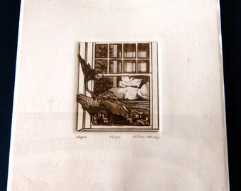 SALE Signed Etching of Bedroom Window, 1984  Possibly W. Thon artist.
