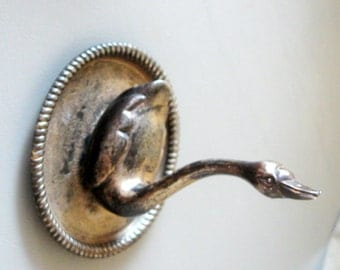 Vintage Swan Jewelry Ring Holder Figurine Metal Brass Silver Plate