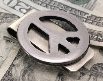 Peace Sign Money Clip, Gift for Best Man, Groomsmen Gift, Peace Sign Moneyclip, Mens Moneyclip