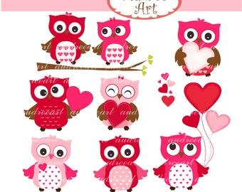 Clip art valentine - love owls, Valentine's day clip art, wedding clip art, engagement clip art,instant download clip art