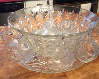 Vintage Punchbowl with cups, ladle  platter -Cut Glass