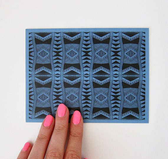 Blue Doodle Geometry Print Greeting Card