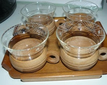 Beach Deco Vintage  Mid Century Tiki Cups Wood and Cut Glass Inserts Matching Tray Set of 4