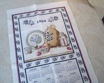 Vintage  Linens 1994 Calendar Tea Towel Pfaltzgraff