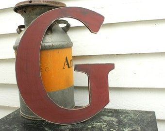 "18"" Wooden Letter Wall Letter Uppercase Shabby Chic Cottage Home Nursery Decor - Handpainted Red Rustic Wood Alphabet Letter G"