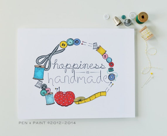Yellow, Blue, Pink, Red Happiness is Handmade, I love sewing, spool of thread, creativity, I love to sew, sew happy, buttons, art print