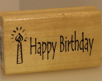 Happy Birthday with a Candle Rubber Stamp