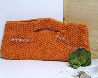 Hand Knit Clutch Purse Handbag Womens Orange Tangerine with clear beading accents Handmade