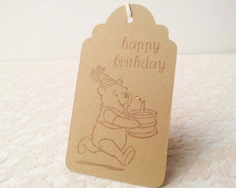 Winnie the Pooh Happy Birthday Cake Large Tags Set of 10