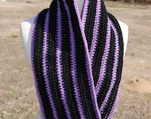 Black and Purple Stripe Cowl Scarf