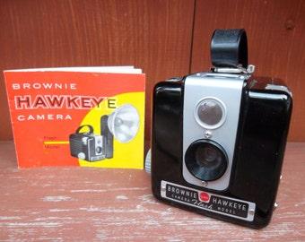 Vintage 1950's BROWNIE HAWKEYE KODAK Camera and Book
