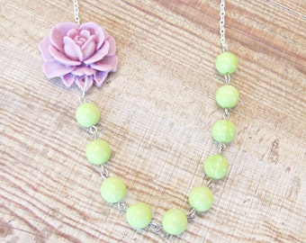 Purple Green Necklace Asymmetrical Lime Lilac Avocado Rose Flower Botanical. Hollin Vintage Silver Candyland Range. Bridal Bridesmaid