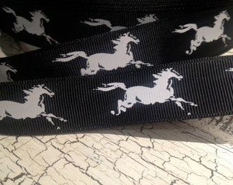 "7/8"" White Galloping Horse on Black Western equestrian Grosgrain Ribbon sold by the yard"