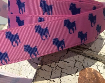 "1"" Blue Polo Horse in pinkgrosgrain ribbon sold by the yard"