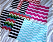 Travel Size Pillow Case -- Red, Pink, Multi or Blue Chevron WITH Black and White Stripe Cuff