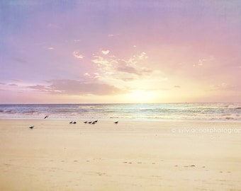 "Ocean photography,Beach home decor ""The Beach is my Happy Place"" ocean,seashore,summer decor,seagulls,sunset,purple,pink,sky,clouds,calming"
