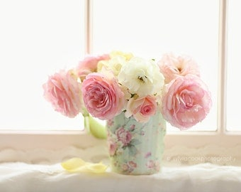 Rose photograph,shabby chic, Fine art  print,pink,mint,white,cottage, pastel,window,flower photography,floral