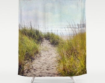 beach shower curtain ocean aqua home