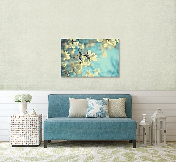 wei e magnolie stoff duschvorhang aqua bad wohnkultur. Black Bedroom Furniture Sets. Home Design Ideas
