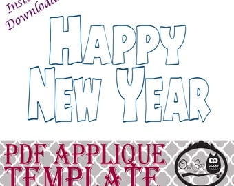 Applique Template - Happy New Year