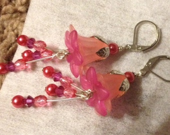 Pretty In Pink Lily Flower Earrings
