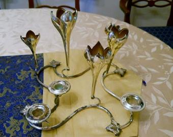 Vase Candelabra 1950s Silverplate Centerpiece Flower Crocus Shabby Chic wedding